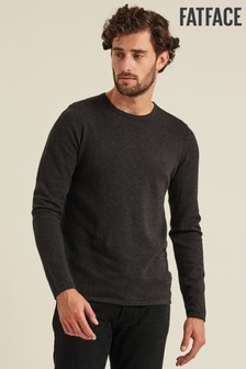 FatFace Grey Cotton Cashmere Roll Crew