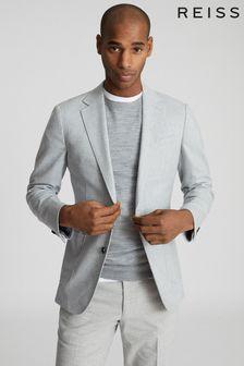 Reiss Grey Piazetta Brushed Wool Single Breasted Blazer
