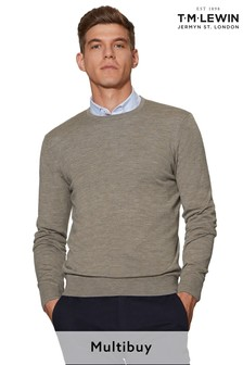 T.M. Lewin Romney Merino Wool Neutral Crew Neck Jumper