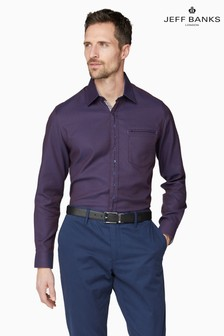 Jeff Banks Red Motif Dobby Weave Tailored Fit Casual Shirt