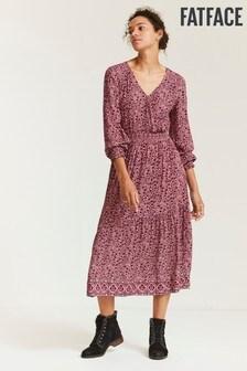 FatFace Pink Bonnie Berry Woodblock Midi Dress