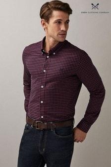Crew Clothing Company Blue Slim Windowpane Oxford Check Shirt
