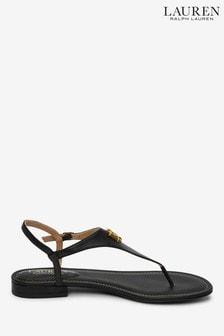 Ralph Lauren Leather Monogram Logo Ellington Flat Sandals