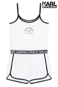 Karl Lagerfeld White Logo Strap Playsuit