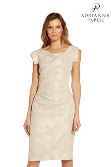 Adrianna Papell Champagne Leaf Jacquard Draped Dress