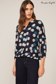 Phase Eight Blue Fan Print Notch Neck Top
