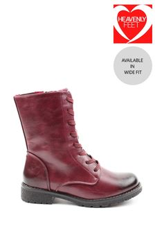 Heavenly Feet Red Ladies Lace-Up Low Calf Ankle Boots