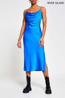 River Island Blue Cowl Midi Dress With Trim