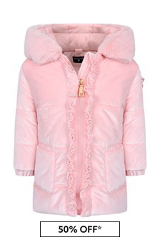 Baby Girls Pink Velvet Down Padded Jacket