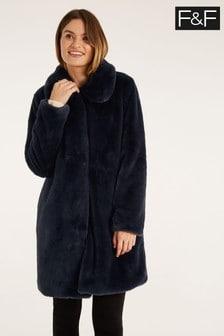 F&F Navy Faux Fur Coat