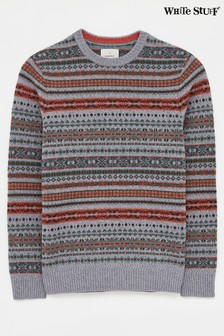White Stuff Grey Byron Pattern Crew Sweater