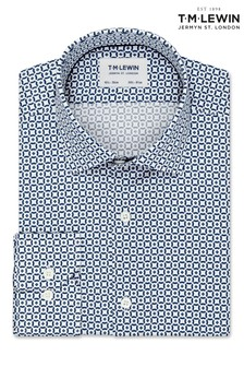 T.M. Lewin Slim Fit White And Navy Geometric Shirt
