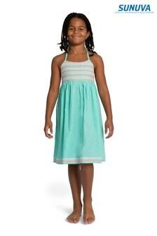 Sunuva Aqua Embroidered Halter Neck Dress