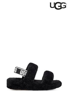 UGG Black Oh Yeah Fluff Sandal Slippers