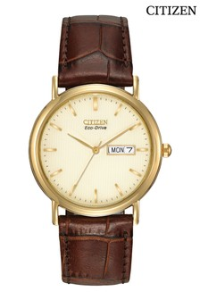 Citizen Eco Drive® Gold Tone Leather Watch