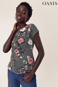 Oasis Grey Trailing Floral T-Shirt