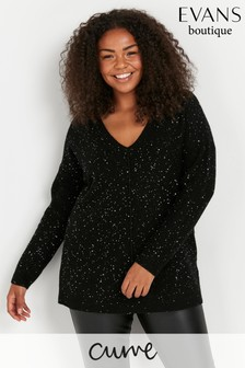 Evans Curve Black Sequin V-Neck Jumper