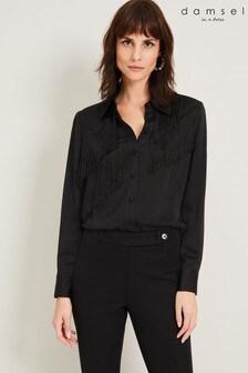 Damsel In A Dress Black Branwen Fringe Blouse