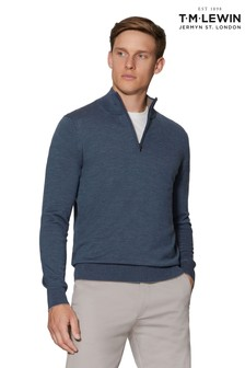 T.M. Lewin Bedford Denim Slim Fit Merino Wool Jumper
