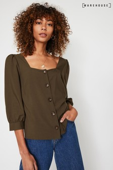Warehouse Green Square Neck Button Front Top