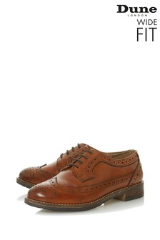 Dune London Wide Fit Tan-Leather Casual Lace Up Brogue