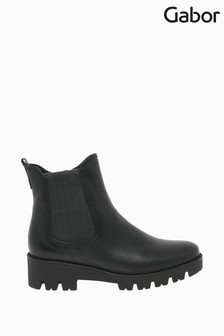 Gabor Newport Black Leather Fashion Ankle Boots