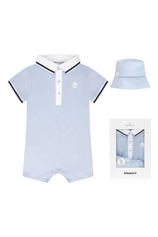 Timberland® Baby Boys Blue Cotton Romper Gift Set