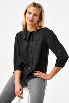 Collared Viscose/Linen Look Blouse