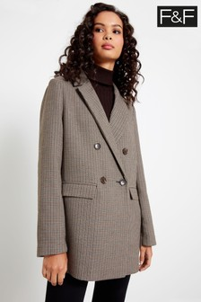 F&F Neutral Check Blazer