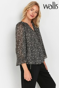 Wallis Tall Black Paisley Print Frill Cuff Top
