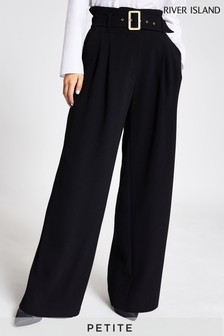 River Island Black High Waist Belted Trousers