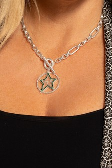 Kate Thornton 'Star & Moon' Silver Tone T-Bar Necklace