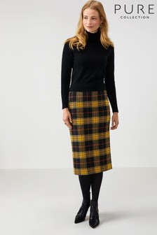Pure Collection Black Wool Midi Skirt