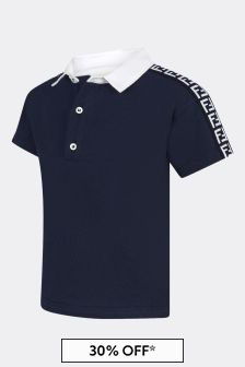 Fendi Kids Baby Boys Navy Cotton  Polo Top