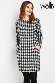 Wallis Tall Monochrome Dogtooth Print Dress
