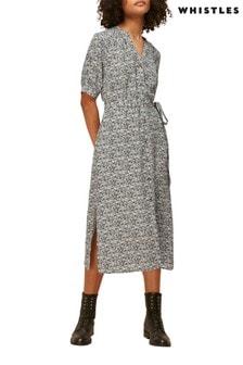 Whistles Black Animal Print Button Up Midi Dress