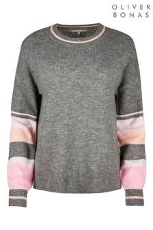 Oliver Bonas Stripe Sleeve Grey Knitted Jumper