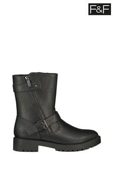 F&F Black Faux Fur Lined Biker Boots
