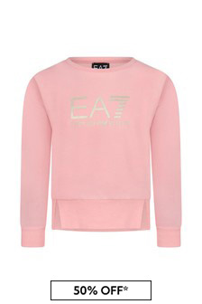 EA7 Emporio Armani Girls Pink Cotton Sweater