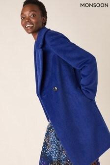 Monsoon Blue Eliza Textured Coat