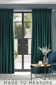 Chenille Dark Teal Made to  Measure Curtains
