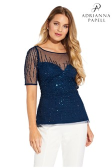 Adrianna Papell Blue Beaded Covered Top