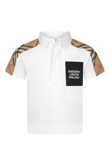 Baby Boys White Cotton Polo Shirt