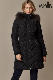 Wallis Black Quilted Belted Midi Coat