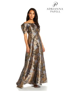 Adrianna Papell Gold Puff Sleeve Gown