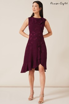 Phase Eight Purple Reese Jacquard Frill Dress
