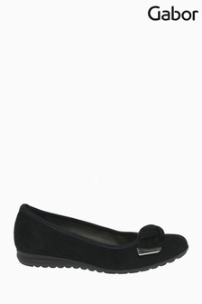 Gabor Silent Black Suede Fashion Casual Ballerina Pumps
