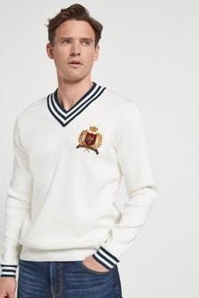 Embroidered V-Neck Cricket Jumper