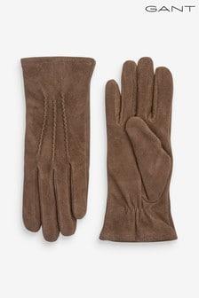 Damskie brązowe rękawiczki zamszowe GANT