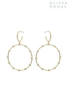 Oliver Bonas Gold Plated Delta Circle & Dot Hoop Earrings